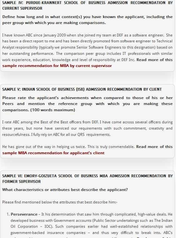 Mba Peer Recommendation Letter Sample