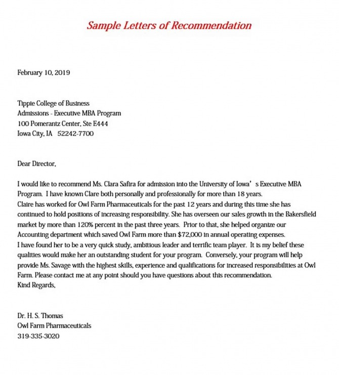 Mba Recommendation Letter Pdf  Word  Doc