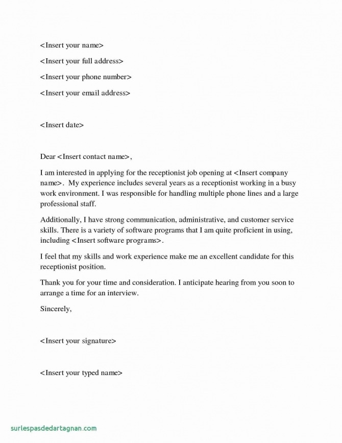 Service Receptionist Cover Letter