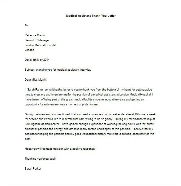 Medical School Interview Thank You Letter