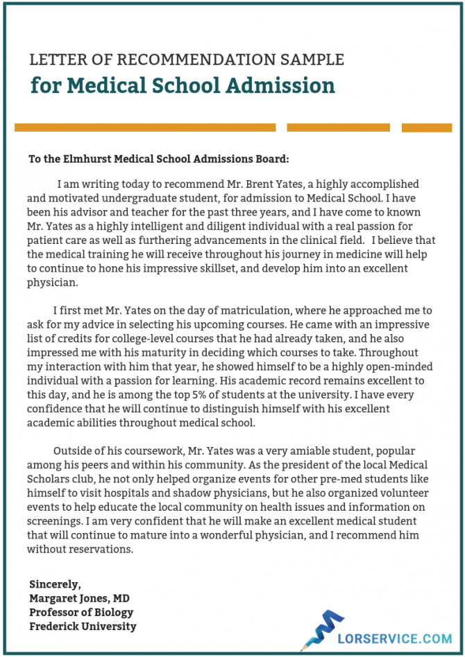 Medical School Letter Of Recommendation Writing Service