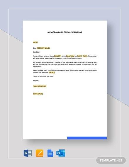 Memorandum On Sales Seminar Template
