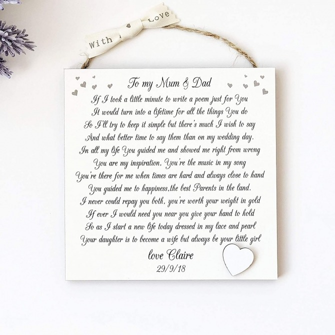 Missyjulia Ltd Parents Of The Bride Gift  Personalised Thank You