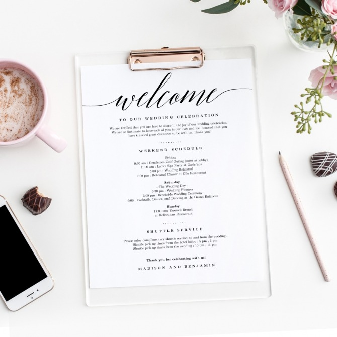 Modern Script Wedding Welcome Letter And Itinerary Msc