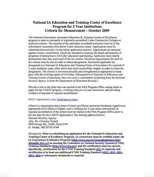 National Ia Education And Training Center Of Excellence Program