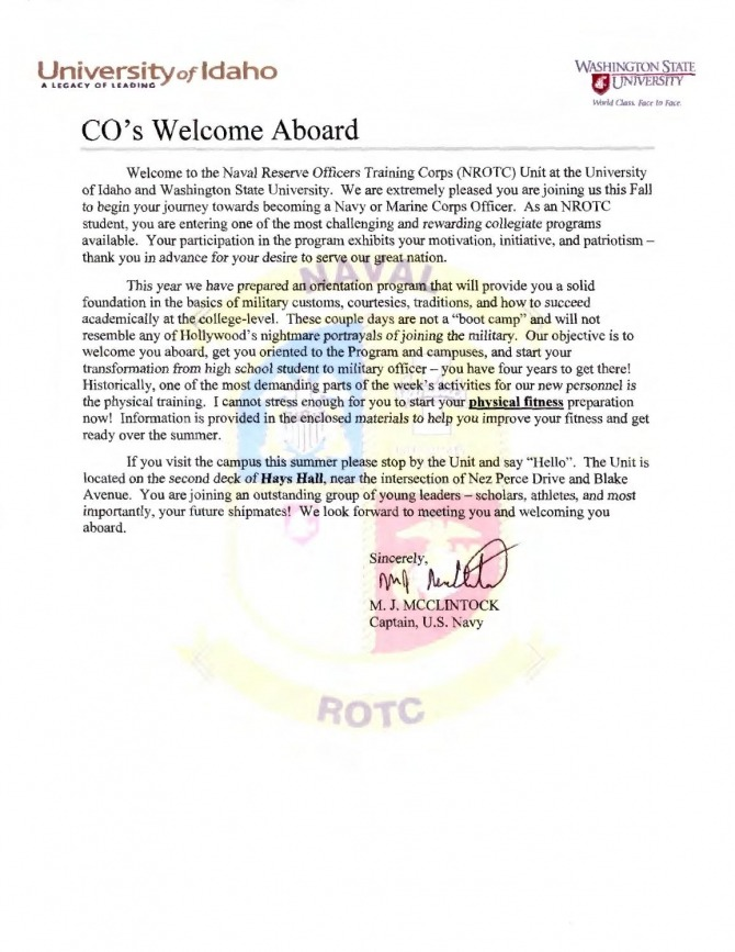 Navy Rotc Welcome Aboard Letter By The University Of Idaho