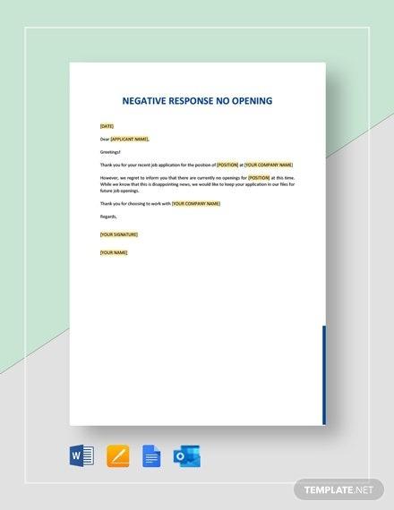 Negative Response No Opening Template