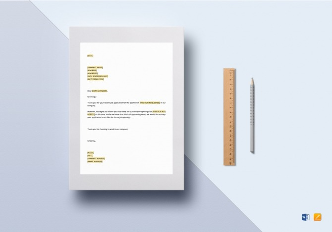 Negative Response No Opening Template In Word  Google Docs  Apple