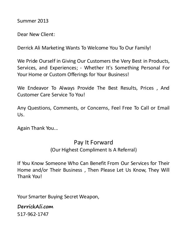 New Client Infopackage And Welcome Letter