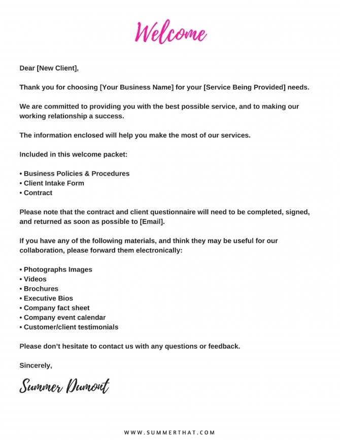 New Client Welcome Letter Template