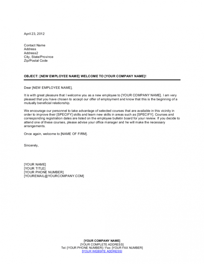New Employee Welcome Letter Template
