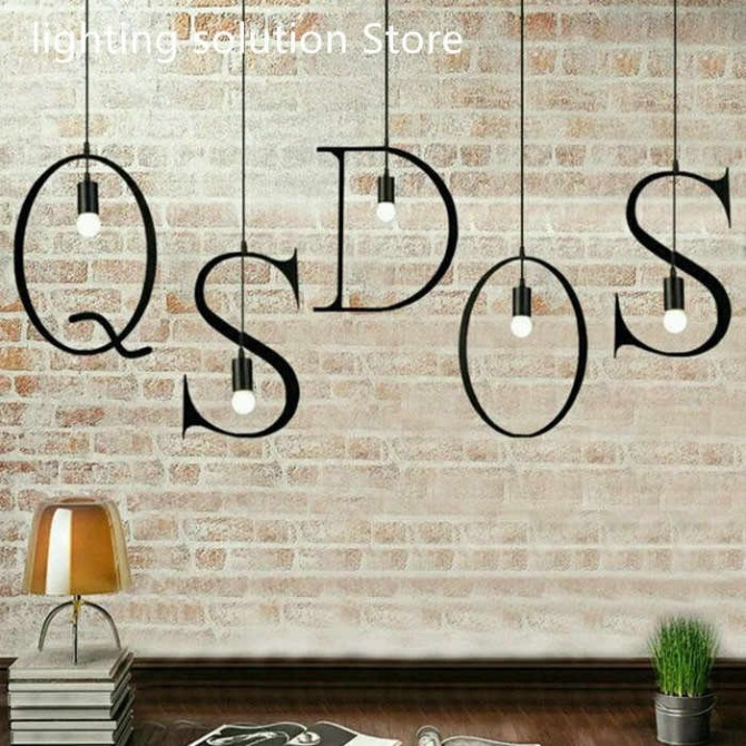New Nordic Iron Letter Pendant Light Diy Marquee Sign Hanging Lamp