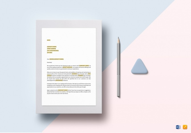 New Open Account Welcome And Terms Letter Template In Word  Google