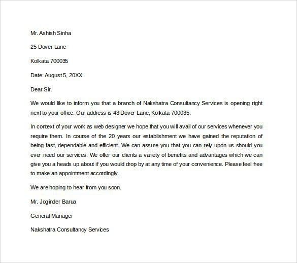 New Restaurant Introduction Letter