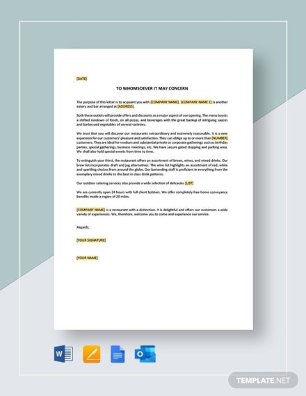New Restaurant Introduction Letter Template