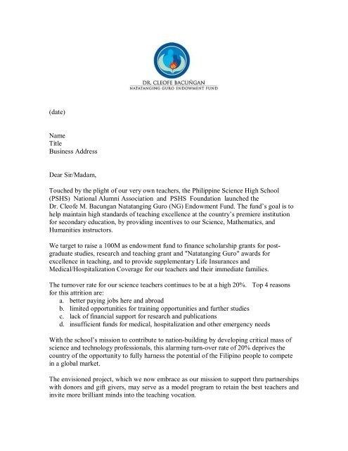 Ng Solicitation Letter Templatepdf