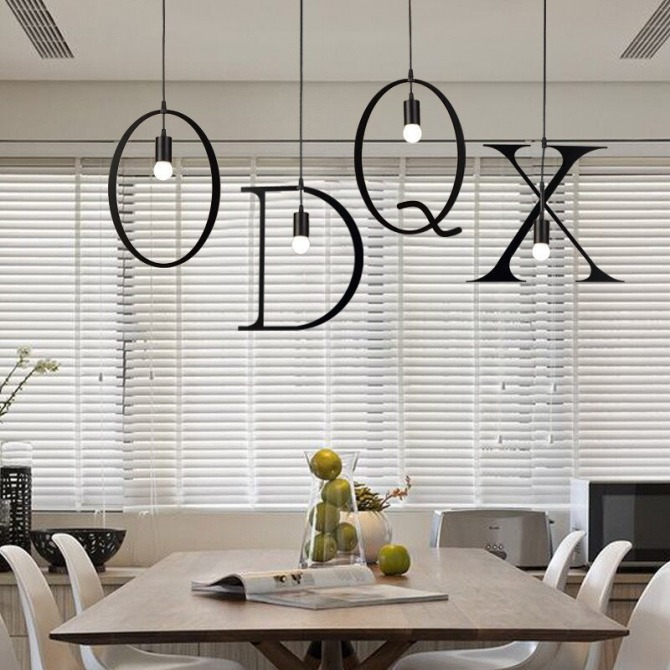 Nordic Iron Diy Letter Pendant Light Hanging Suspension