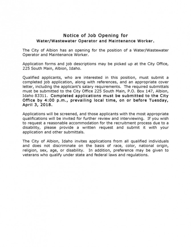 Notice Of Job Opening  City Of Albion