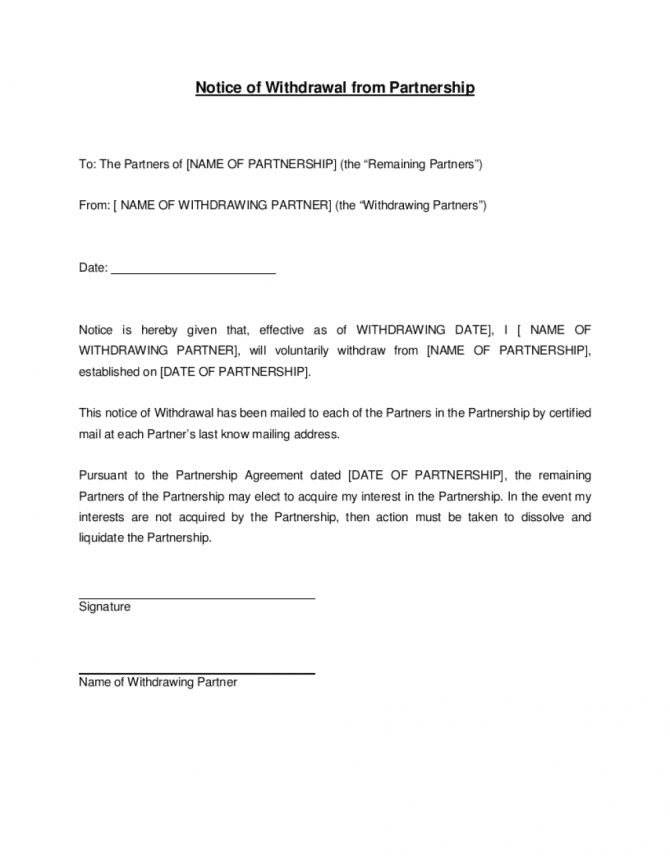 Notice Of Withdrawal From Partnership Template