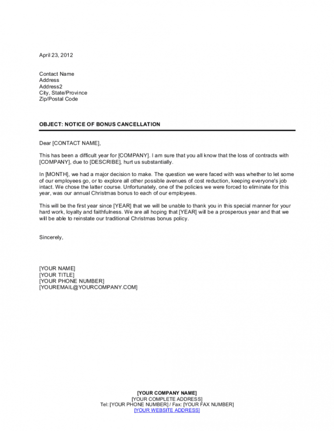 Notice To Employees Of Bonus Cancellation Template