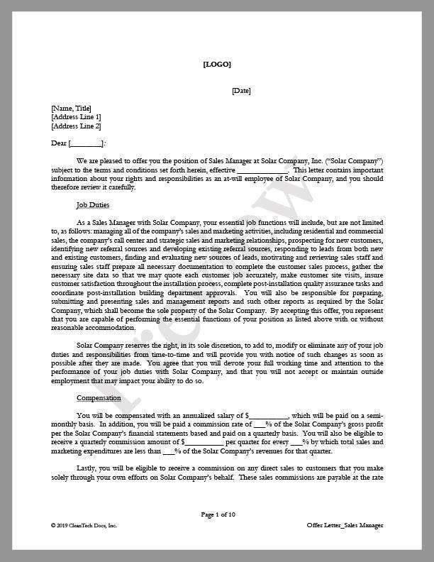 Offer Letter For Solar Sales Manager Position  Cleantech Docs