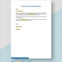Offer Letter Of Recommendation