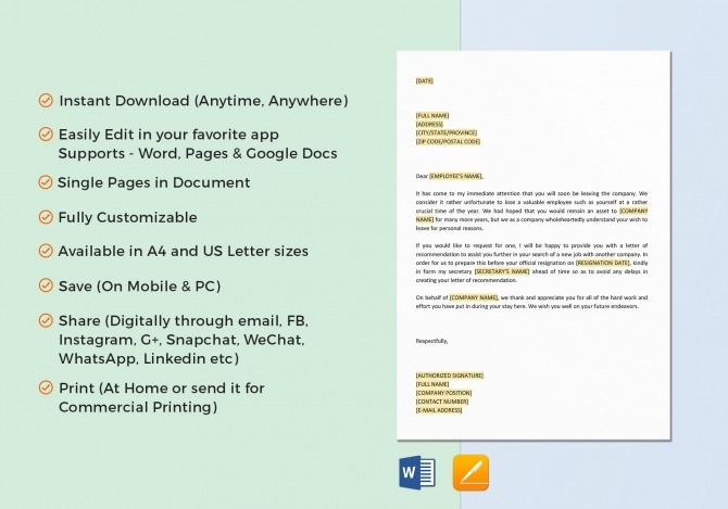 Offer Letter Of Recommendation Template In Word  Google Docs
