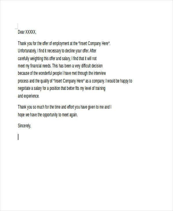 Offer Rejection Letters