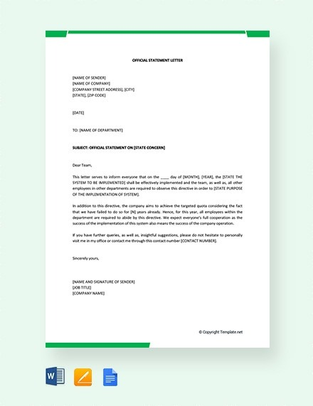Official Statement Letter Format Examples