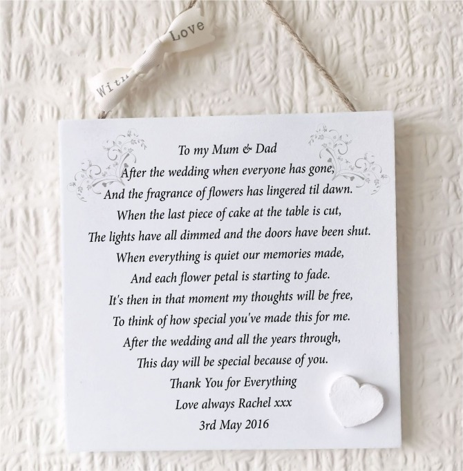 Parents Of The Bride Gift Personalised Mum Dad Plaque From Bride