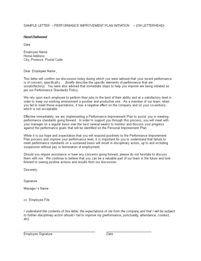 Performance Improvement Warning Letter