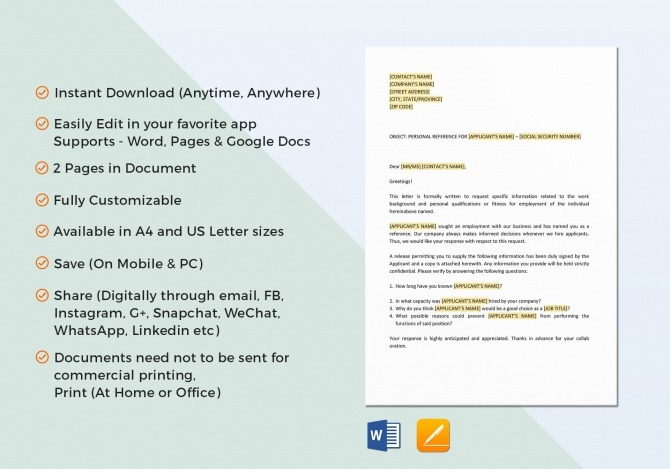 Personal Reference Check Letter Template In Word  Google Docs