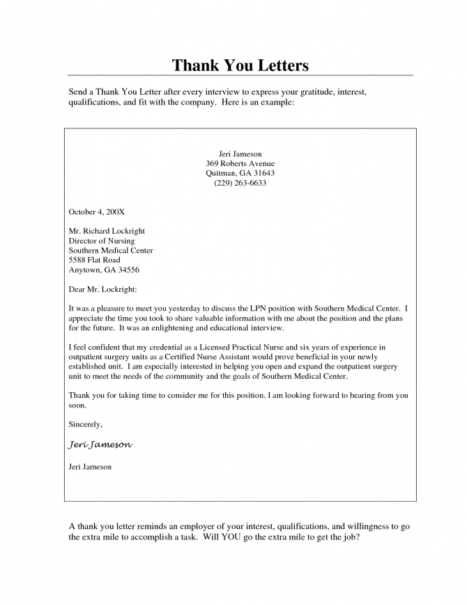 Pics Photos Thank You Letter After Interview Nursing Sample Free