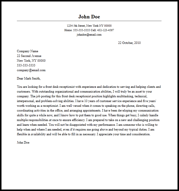 Professional Front Desk Receptionist Cover Letter Sample   Writing