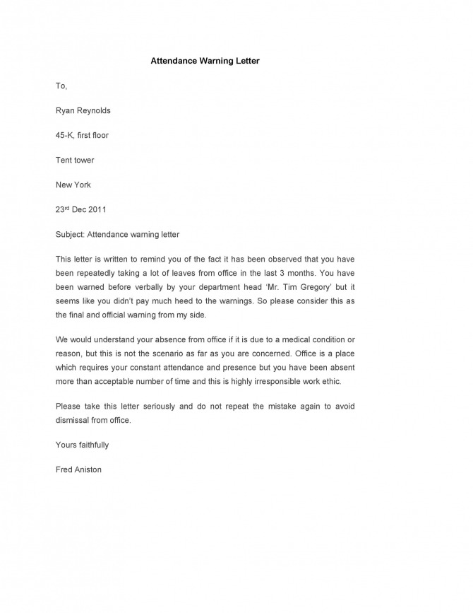 Professional Warning Letters Free Templates  Templatelab
