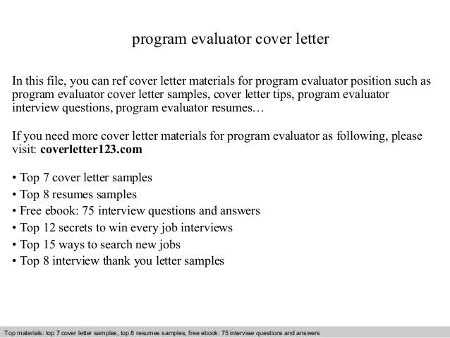 Program Evaluator Cover Letter