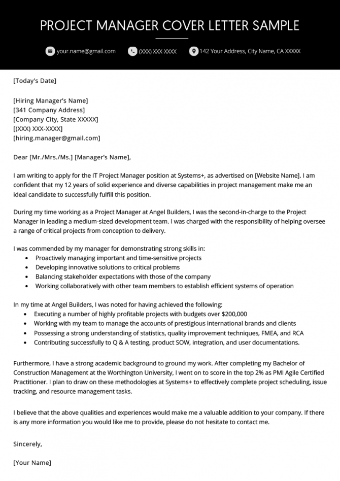 Project Manager Cover Letter Example