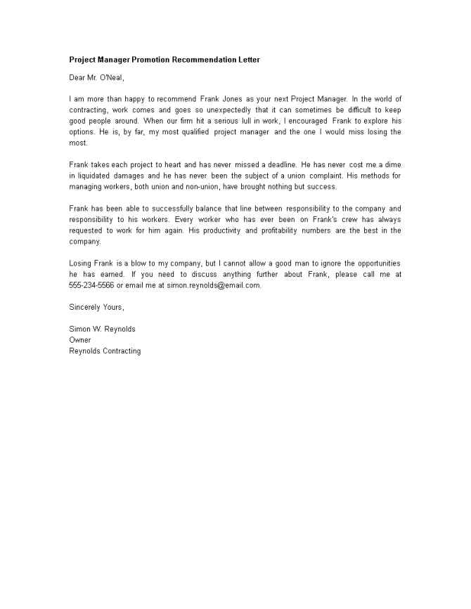 Project Manager Promotion Recommendation Letter