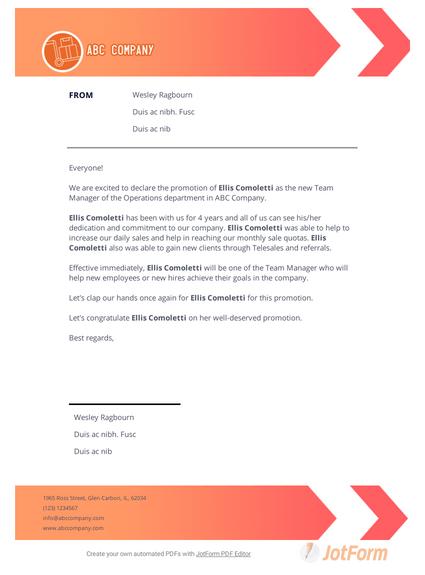 Promotion Announcement Letter