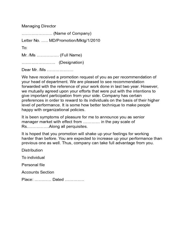 Promotion Announcement Letter Sample