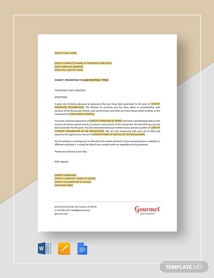 Promotion Letter Templates   Examples In Word  Pages  Numbers