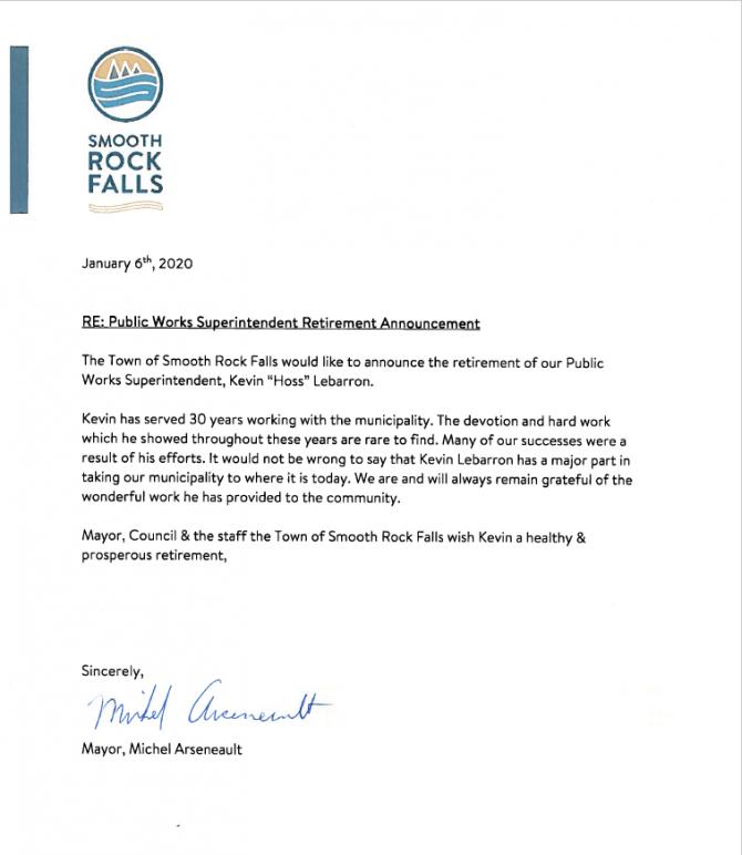 Public Works Superintendent Retirement Announcement