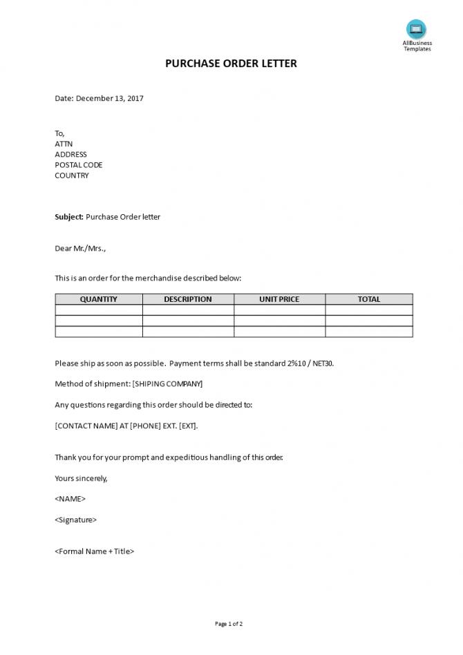 Purchasing Order Letter