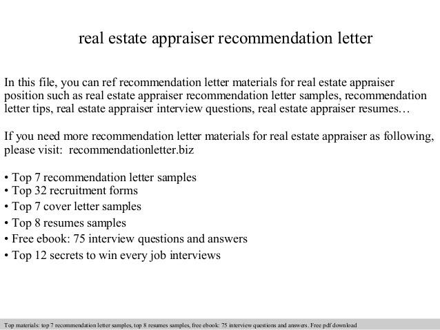 Real Estate Appraiser Recommendation Letter