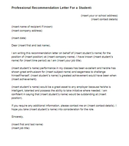 Recommendation Letter For A Student Template
