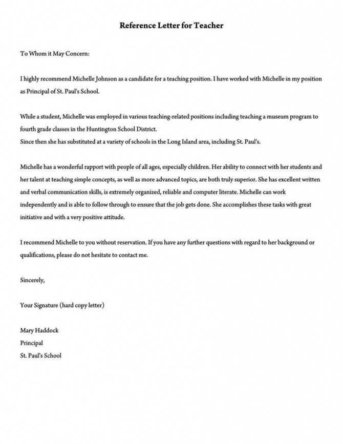 Recommendation Letter For A Teacher  Sample Letters   Templates