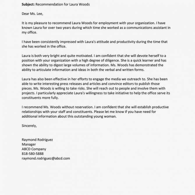 Recommendation Letter For An Employee Example