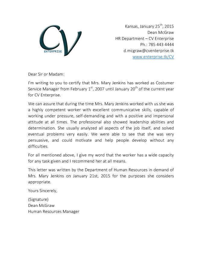 Recommendation Letter For Customer Service