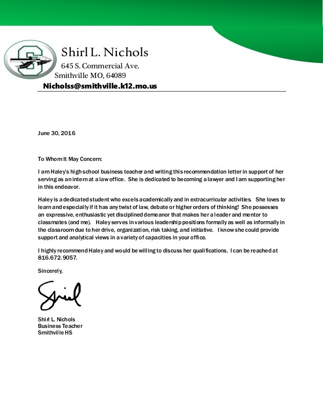 Recommendation Letter For Firm
