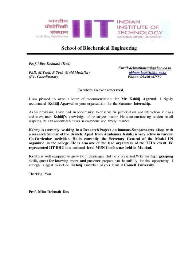 Recommendation Letter Of Prof Msmira Debnath Das